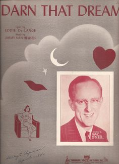 Darn that Dream, Vintage Sheet Music, Kay Kyser, Maroon and Grey Cover Art, 1940s Popular Music, Love Ballad, Words and Music by BettywasaBombshell on Etsy