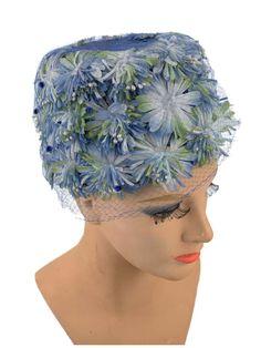 60s Blue Green Flower Large Pillbox Hat