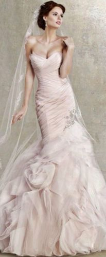 Awesome Awesome 2017 New Pink Organza Mermaid Wedding Dress Pageant Ball Bridal Gown Custom Size  Cool Check more at http://24myshop.ml/my-desires/awesome-2017-new-pink-organza-mermaid-wedding-dress-pageant-ball-bridal-gown-custom-size-cool/