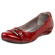 ECCO Women's Bouillon Buckle Flat. $75.99 at Endless. #shoes #red #flats