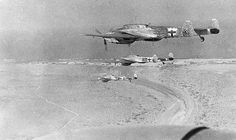 2.WW, North Africa, war theater (Africa campaign) german Luftwaffe Feb.41-May43: a squadron of fighter planes Me-110 above the libyan desert. March 1941 - pin by Paolo Marzioli