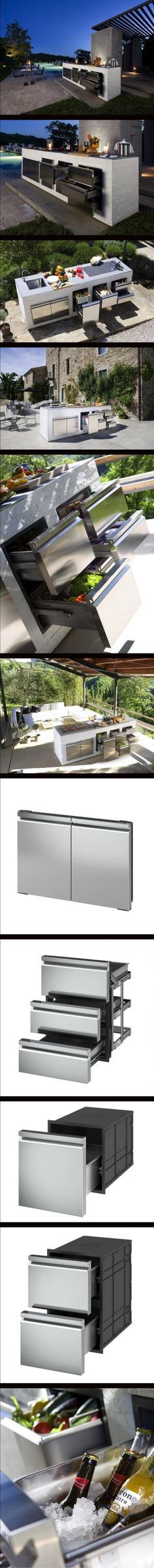 "RONDA OUTDOOR | Drawer for bar counter - Outdoor kitchen doors and drawers Ronda Outdoors is a line of doors, drawers and accessories in stainless steel for your ""ice"" department, developed to integrate perfectly with your outdoor cooking area. Finally you can keep everything you need cool in an elegant, secure and clean space.  Open the drawers and you will find the stainless steel containers full of ice. In another drawer you can have a waste container and all comfortably positioned within…"