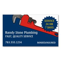 Custom color plumber plumbing pipe wrench business cards. Make your own business card with this great design. All you need is to add your info to this template. Click the image to try it out!