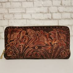 Women's Wallet, Leather, Vintage, Handmade , Hand Tooled Leather, Boho, Bohemian, Large, for Cards, Gift for Her by aymxleather on Etsy Leather Pouch, Leather Tooling, Cow Leather, Cowhide Leather, Handmade Wallets, Wallets For Women Leather, Beautiful Handbags, Small Wallet, Leather Design