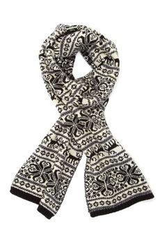Pur Cashmere Wool Blend Reindeer Fairisle Scarf - Black-Creme white