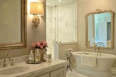 Pretty bathroom design! @BainUltra #freestanding Balneo Sanos #bathtub in a beautiful #design by Kara Childress Inc - To know more about the tub: http://www.bainultra.com/therapeutic-baths/our-collections/balneo