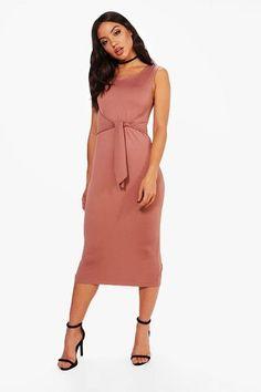 9d7824a667 Boohoo Jess Tie Front Detail Midi Dress
