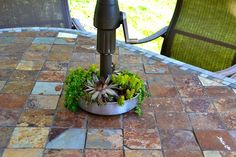 Hope Studios: Patio Table Decor-a jelly mould makes a planter that the umbrella can slip right through.