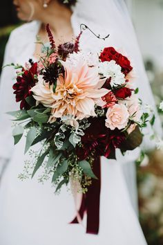 dahlia bouquet with burgundy - photo by With Love and Embers http://ruffledblog.com/best-of-2015-bouquets #weddingbouquet #bouquets