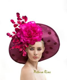 Raspberry Hat Couture Derby hat Lampshade Hat by ArturoRios, $235.00 I would pin his whole shop if I could...just stunning works!