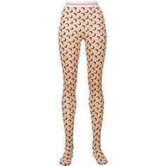 Marine Serre Radical Call For Love printed tights (€280) ❤ liked on Polyvore featuring intimates, hosiery, tights, lycra tights, tan stockings, spandex stockings, spandex tights and tan tights