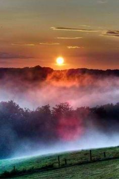 Sunrise~rainbow~fog! Beautiful!