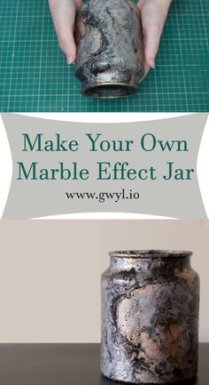 This DIY is so fun to do and very simple to do, but it can get a little messy, but that's art, so it should just be fine. See video and written instructions here==> | Make Your Own Marble Effect Jar | http://gwyl.io/make-marble-effect-jar/