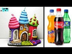 DIY Fairy House Lamp Using Plastic Bottles, How To Make Fairy House DIY. How to make ice cream Fairy house lamp using coke plastic bottles, fairy house ideas, fairy house diy, fairy garden Plastic Bottle Crafts, Diy Bottle, Plastic Bottles, Clay Fairy House, Fairy Houses, Clay Crafts, Diy And Crafts, Crafts For Kids, Toilet Paper Roll Diy