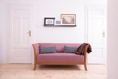 couch, pink, pattern, doors, decoration, home, house, living room