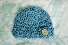 Alli Crafts: Free Pattern: Button Flap Beanie - Newborn