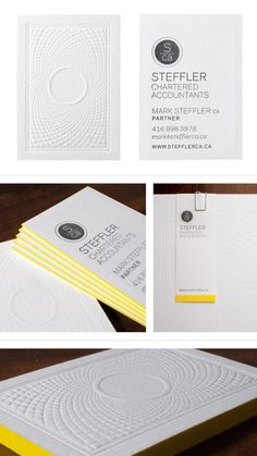 Really cool Business Cards. Awesome yellow accent on the edges of the cards. Brochure Design, Branding Design, Logo Design, Cool Business Cards, Business Card Design, Packaging Inspiration, Visiting Card Design, Printing And Binding, Name Card Design