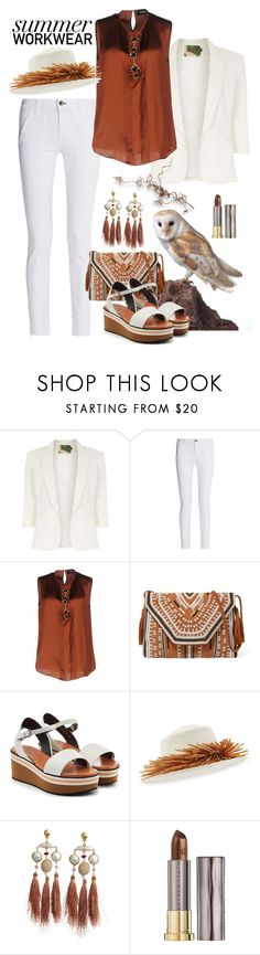 """""""Summer Workwear - White and Brown"""" by giovanina-001 ❤ liked on Polyvore featuring Jolie Moi, Alba Botanica, rag & bone, Dsquared2, Antik Batik, Robert Clergerie, Gigi Burris Millinery, Gas Bijoux, Urban Decay and PearlsandLace"""