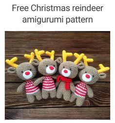 * 크리스마스 루돌프 사슴 손뜨개 무료도안 * 핀에서 퍼온 손뜨개 사슴인형 무료도안이에요. 크리스...