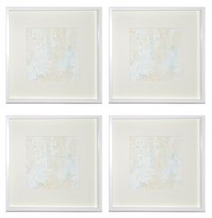 framed white paintings!  hung in a quad.  by lindsay cowles fine art