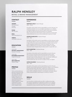 Clean & Simple Career Focused Design - The design of this exclusive template has a career in mind but even if you're not looking for a job in that field and just prefer the layout, it can be easily edited to suit any position or industry. Resume Layout, Job Resume, Resume Tips, Resume Writing, Resume Examples, Resume Ideas, Resume Skills, Resume Design Template, Cv Template