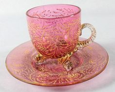 MOSER DECORATED CUP AND SAUCER : Lot 94