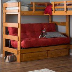 Woodcrest Heartland Futon Bunk Bed with Extra Loft - Honey Pine - Bunk Beds & Loft Beds at Hayneedle