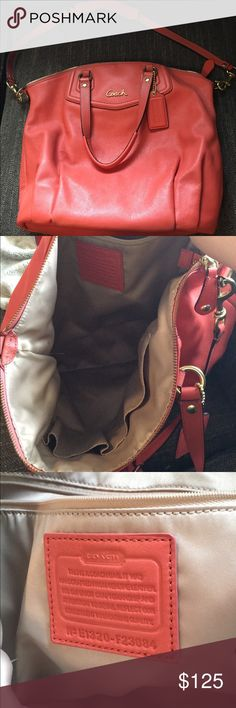 Authentic Coach Purse Peach colored medium coach bag. Very very good condition, barely used Coach Bags Hobos