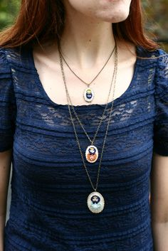 hand embroidered nesting doll necklace