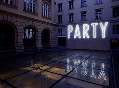 Party neon, 2010 by artist Christoph Hinterhuber Neon Moon, Neon Words, Neon Nights, All Of The Lights, Wayfinding Signage, Urban City, Light Installation, Bright Lights, Neon Lighting