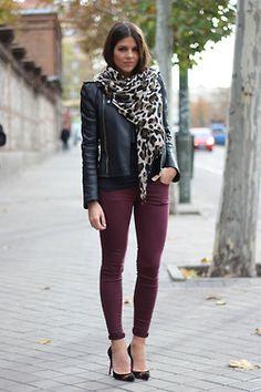Burgundy (maroon) Jeans // leather jacket // cheetah print scarf
