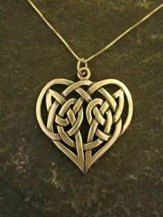 Gold Celtic Knot Heart Pendant on a Gold Chain Celtic Heart, Celtic Knot, Irish Jewelry, Gold Jewelry, Tiffany Jewelry, Gold Chains For Men, Celtic Designs, Geeks, Steampunk