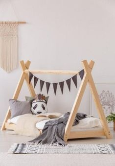 Scandinavian wood teepee bed, pine wood toddler bed, house bed, kids tent floor bed, wood bed nursery teepee bed for kids booho - Wooden Product Seller Diy Toddler Bed, Toddler Rooms, Toddler Trundle Bed, Toddler Floor Bed Frame, Unique Toddler Beds, Baby Floor Bed, House Frame Bed, House Beds, Wooden Teepee