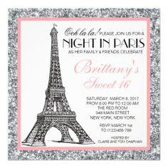Night in Paris Glitter Sweet 16 Custom Invitation