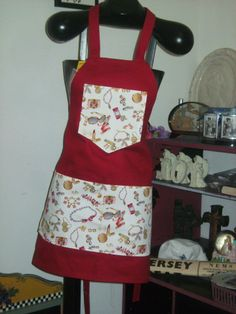 Jewels on Red apron made by Fried Green Aprons