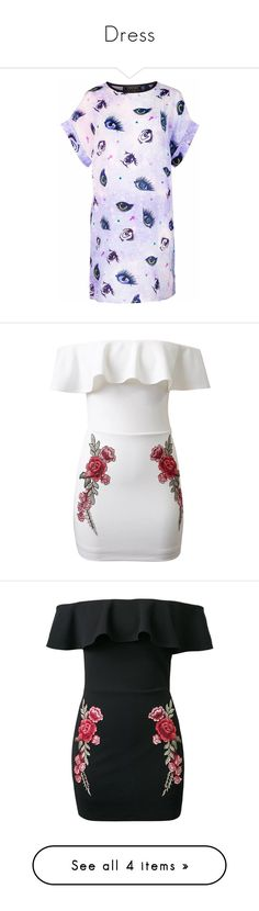 """Dress"" by kokoxpops ❤ liked on Polyvore featuring dresses, t shirt dress, t-shirt dresses, print dresses, silk dress, pattern dress, vestidos, bodycon dress, floral dresses and white embroidered dress"