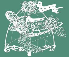 Rollo the Carousel Turtle Papercut TEMPLATE .PDF by MadMarchMoon