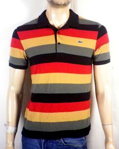 euc Lacoste muted tone Striped Colorblock Polo Shirt sz 3 XS #Lacoste #PoloRugby