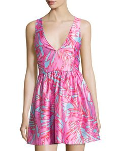 Fit-and-Flare+Palm-Print+Dress,+Pink/Blue++by+Romeo+&+Juliet+Couture+at+Neiman+Marcus+Last+Call.