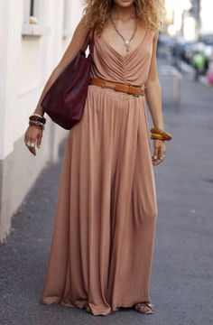 Sand Chiffon Billowy Boho Dress Maxi