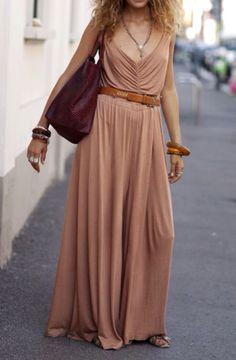 Sand Chiffon Billowy Boho Dress Maxi