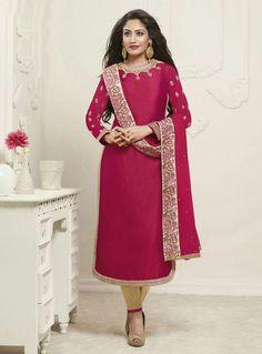 Surbhi Chandna Magenta Georgette Kameez With Pant 85482 Surbhi Chandna, Bollywood Dress, Salwar Kameez, Lehenga, Indian Fashion, Magenta, Most Beautiful, Sari, Style Inspiration