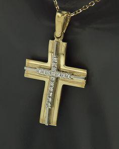 Σταυρός δύο όψεων από κίτρινο & λευκόχρυσο Κ9 με Ζιργκόν