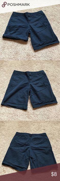 Navy Blue GAP Boyfriend Roll-Up Shorts Navy Blue Khakis by GAP Boyfriend Roll-Up Shorts. Can roll to desired length. Size 8. Smoke Free Home GAP Shorts