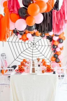 Kara's Party Ideas Ultimate KIDZ BOP Halloween Party | Kara's Party Ideas #AD Halloween Food For Party, Halloween Themes, Halloween Pumpkins, Halloween Decorations, Orange Balloons, Big Balloons, Pop Star Party, Pumpkin Carving Templates, Kidz Bop