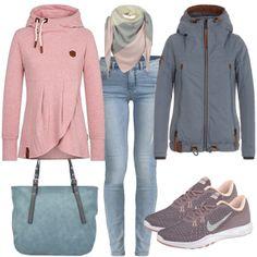 Dieses casual Outfit ist perfekt für deinen Alltag. Der graue Pullover lässt sich sehr gut mit einer Jeans von Only, einer Übergangsjacke von Bench und trendigen Adidas Sneaker kombinieren.Dazu eine Tasche von Tamaris und ein gemusterter Schal und du hast dein stylisches Herbstoutfit.