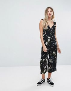 #ASOS - #New Look New Look Ruffle Straps Culotte Floral Printed Jumpsuit - Pink - AdoreWe.com