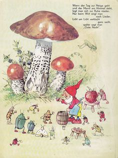 Fritz Baumgarten, Gnome and creatures having a drink on a hot summers day Woodland Creatures, Magical Creatures, Art And Illustration, Trolls, Baumgarten, Elves And Fairies, Mushroom Art, Fairy Art, Faeries