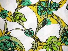 Vintage Fabric 70's Cotton White Printed Yellow Green Black FreshandSwanky on Etsy