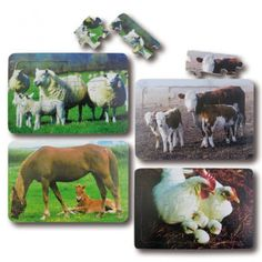 Parent & Young Puzzles set 1 - A set of puzzles depicting four different farm animals and their young• a horse, a sheep, a cow and a chicken. Each puzzle has high quality photographic images.  • 12 pieces each • Set of 4